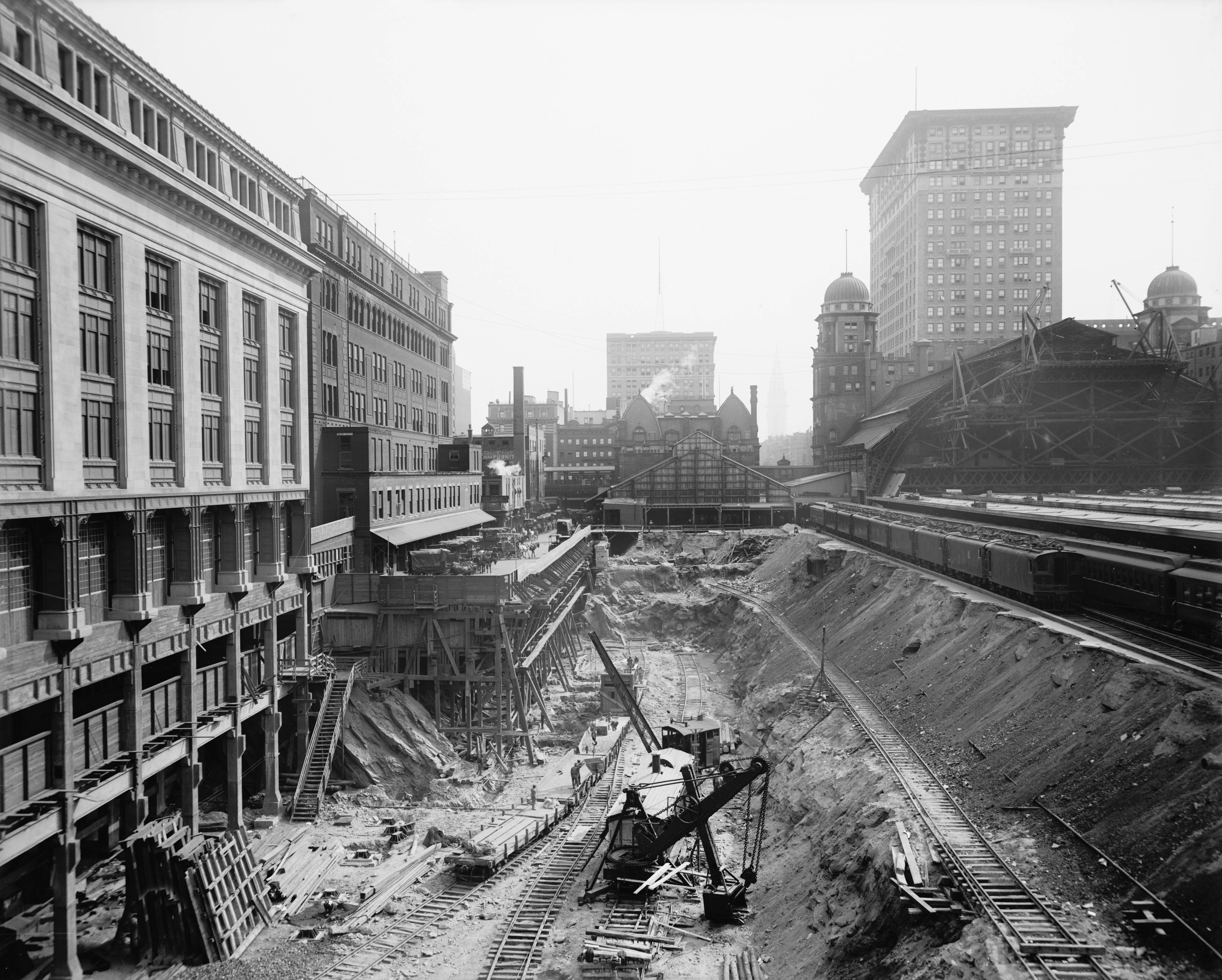 Excavation of the Grand Central Terminal, circa 1908.
